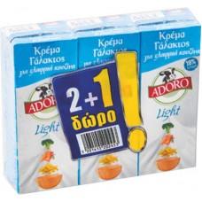 KPEMA ΓAΛAKTOΣ LIGHT ADORO 3X200ML(2+1ΔΩPO