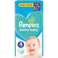 PAMPERS ACTIVE BABY 4(9-14KG) 58T
